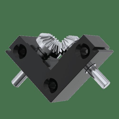 2:1 Ratio Minature Bevel Gearbox - BE Type with 5mm Shaft Diameter - Black Aluminium & Stainless Steel