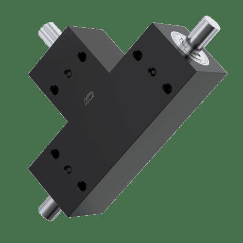 2:1 Ratio Bevel Gear Box - BS Type with 6mm Shaft Diameter, Type T - Black Aluminium & Stainless Steel