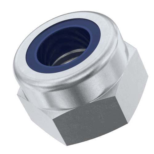 M12 High Nylon Locking Nuts (DIN 982) - Marine Stainless Steel (A4)