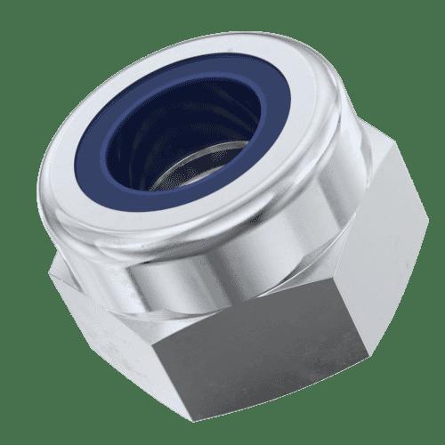 M8 High Nylon Locking Nuts (DIN 982) - Zinc Plated Grade 8 Carbon Steel