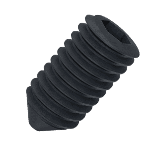 M4 x 6mm Cone Point Set / Grub Screws (DIN 914 / ISO 4027) - Black Stainless Steel (A2)