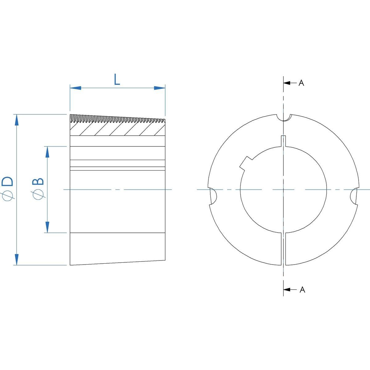1610 Size with 15mm, Bore Taper Locking Bushes - 161015 Drawing