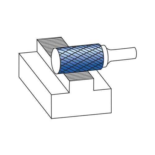 3mm (6mm) x 50mm (12.7mm) Cylinder Shape Cross Cut Burrs - Carbide [Blue-Tec Coated] (Karnasch 11.5001)
