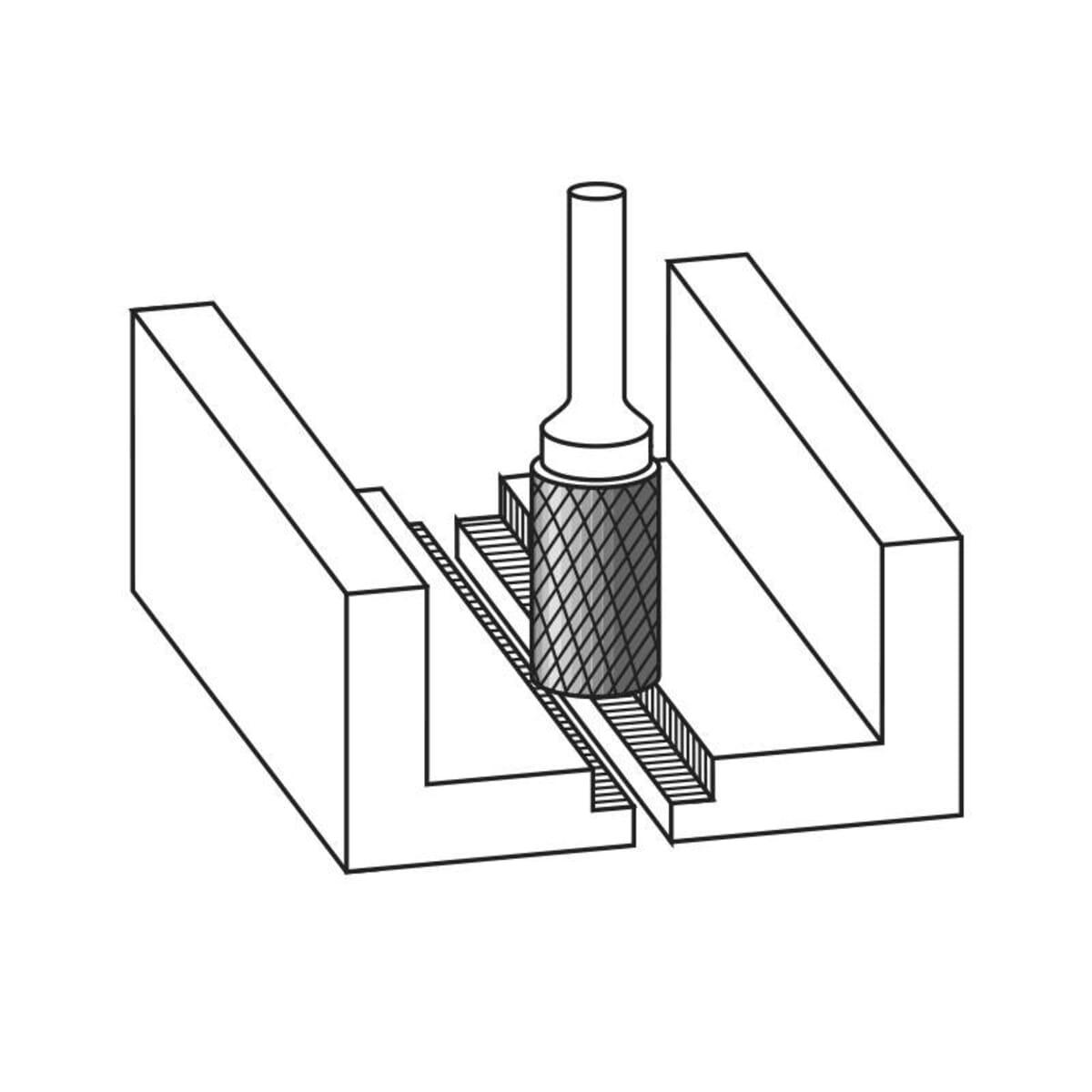 3mm (3mm) x 65mm (14mm) Cylinder Shape Cross Cut Burrs - Carbide (Karnasch 11.3011)