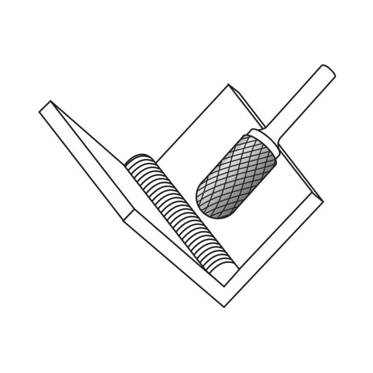 4mm (6mm) x 60mm (15mm) Cylinder Shape Cross Cut Burrs - Carbide (Karnasch 11.3021)
