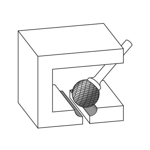 6mm (3mm) x 38mm (5mm) Ball Shape Cross Cut Burrs - Carbide (Karnasch 11.3031)