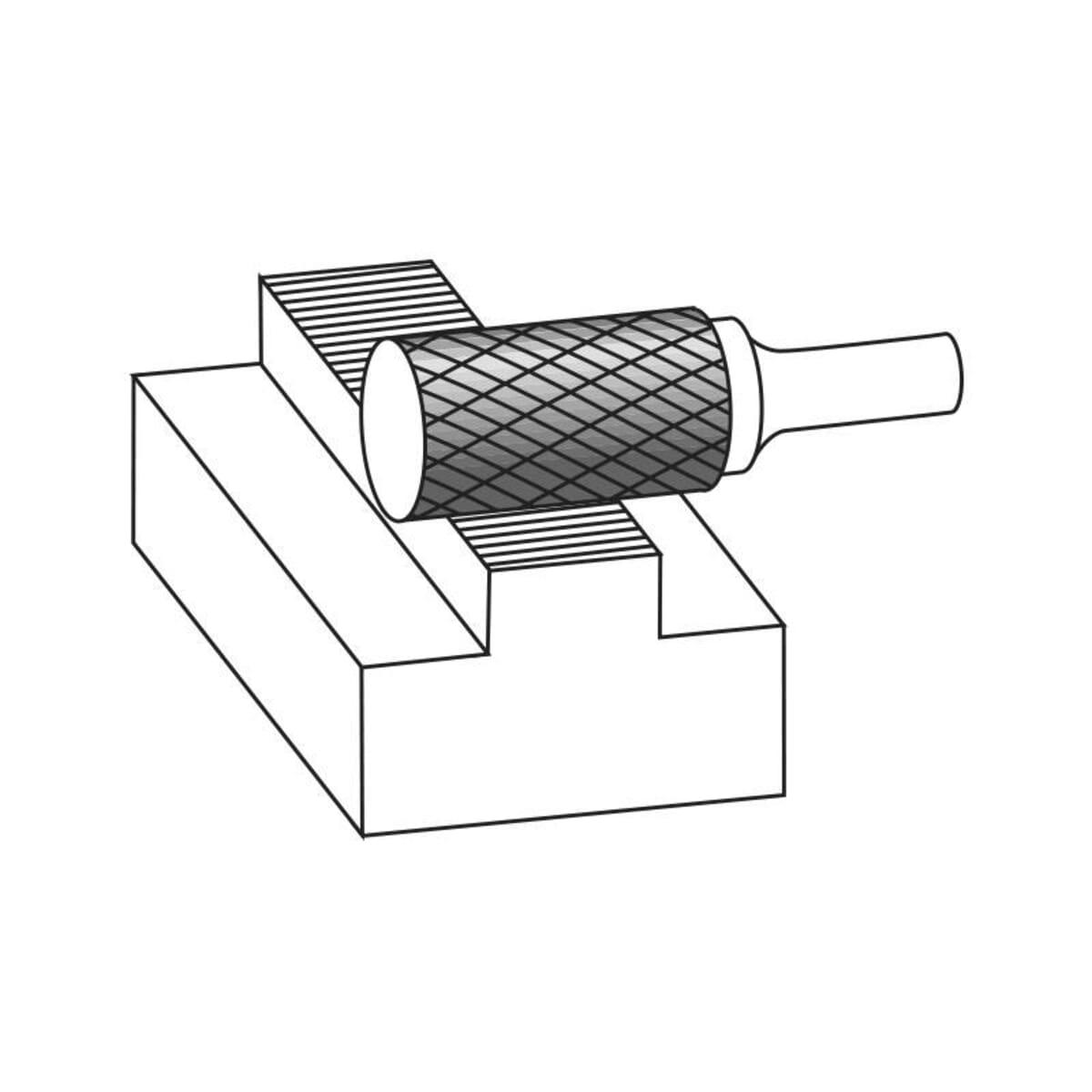 6mm (3mm) x 45mm (13mm) Cylinder Shape Plain Cut Burrs - Carbide (Karnasch 11.3000)