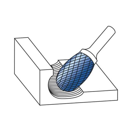 6mm (6mm) x 50mm (10mm) Oval Shape Plain Cut Burrs - Carbide [Blue-Tec Coated] (Karnasch 11.5040)