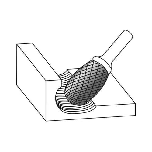 6mm (6mm) x 50mm (10mm) Oval Shape Extra Fine Cross Cut Burrs - Carbide (Karnasch 11.3042)