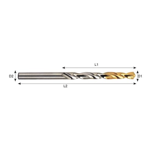 6.3mm x 101mm Standard Twist Drills - HSS [5% Cobalt - TiN Coated] (YG-1 DLGP195)