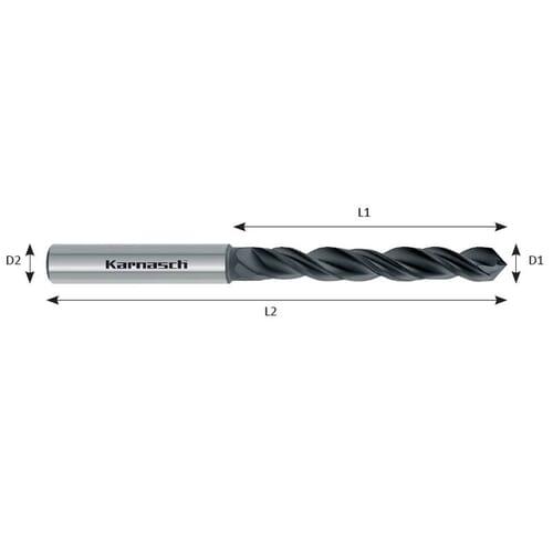 5.4mm x 82mm Standard Twist Drills - Carbide [Diamond Coated] (Karnasch 29.0121)