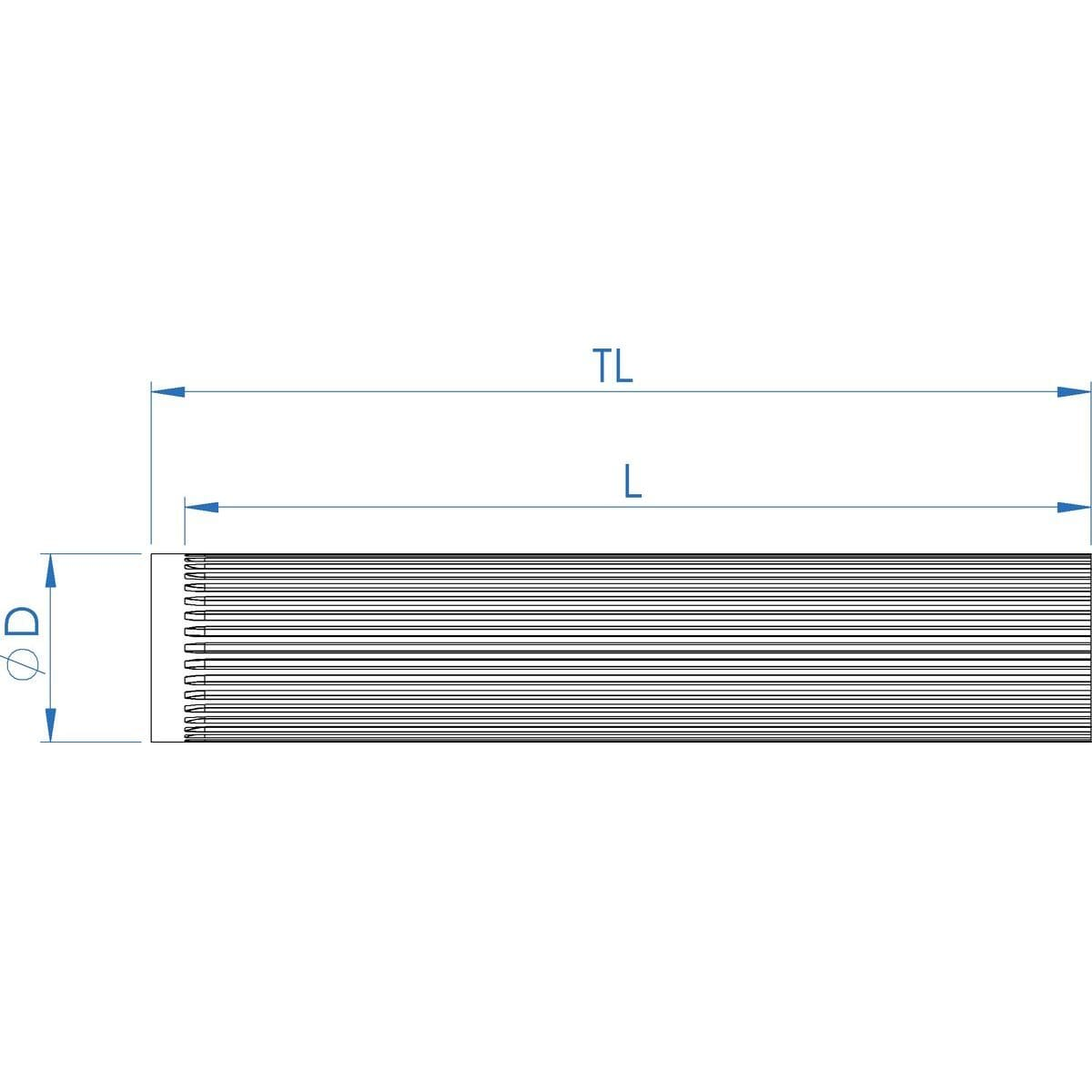 19 Teeth x 160mm Length, AT10 Type Precision Timing Pulley Bar Stock Lengths - BAT10/19 Drawing