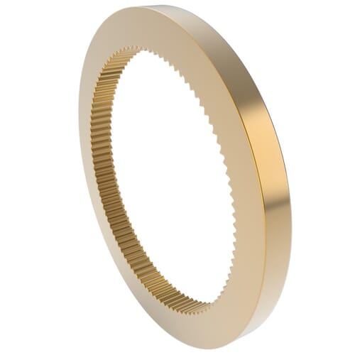 0.5 MOD - 100 Teeth - 3mm Face Width, Internal Gears - Brass