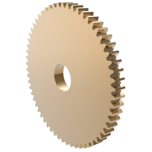 0.75 MOD - 90 Teeth - 3mm Face Width, A1-Type Precision Spur Gears - Brass