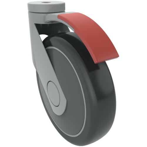 100mm x 13mm Levina Castors - Polyamide Wheel Centre With Thermoplastic Rubber Tread - Braked