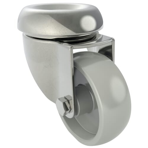 100mm x 30mm Industrial Castors With Bolt Hole, Unbraked - Zinc Plated Steel Housing With Polyamide Wheel