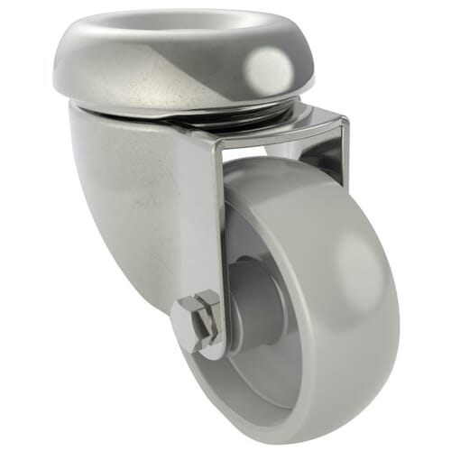 100mm x 27mm Industrial Castors With Bolt Hole, Unbraked - Stainless Steel Housing With Polyamide Wheel
