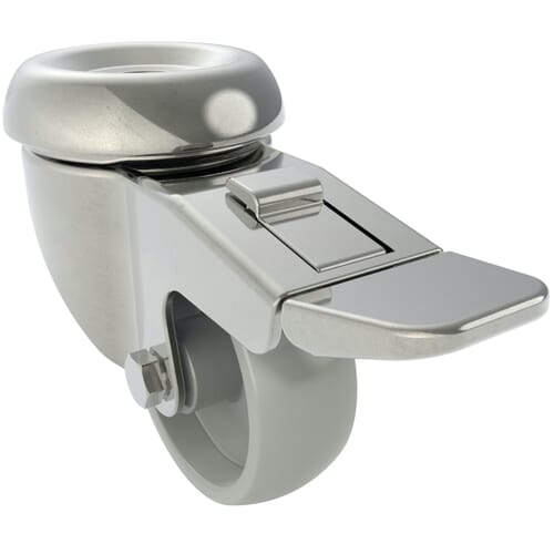 100mm x 27mm Industrial Castors With Bolt Hole, Braked - Stainless Steel Housing With Polyamide Wheel