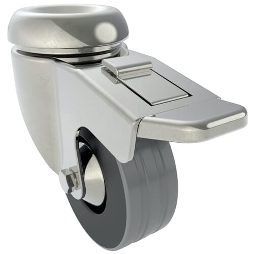 100mm x 28mm Industrial Castors With Bolt Hole, Braked - Zinc Plated Steel Housing With Grey Natural Rubber Tyre