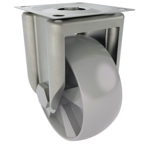 100mm x 27mm x 134mm x 8.3mm Industrial Castors With Fixed Plate - Stainless Steel Housing With Polyamide Wheel