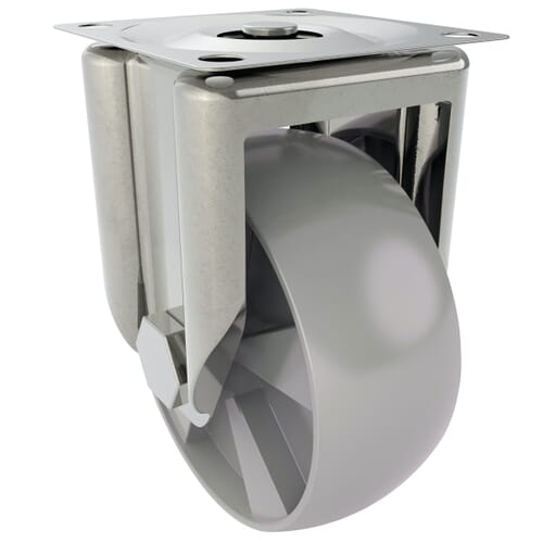 80mm x 22mm x 109mm x 6.5mm Industrial Castors With Fixed Plate - Zinc Plated Steel Housing With Polyamide Wheel