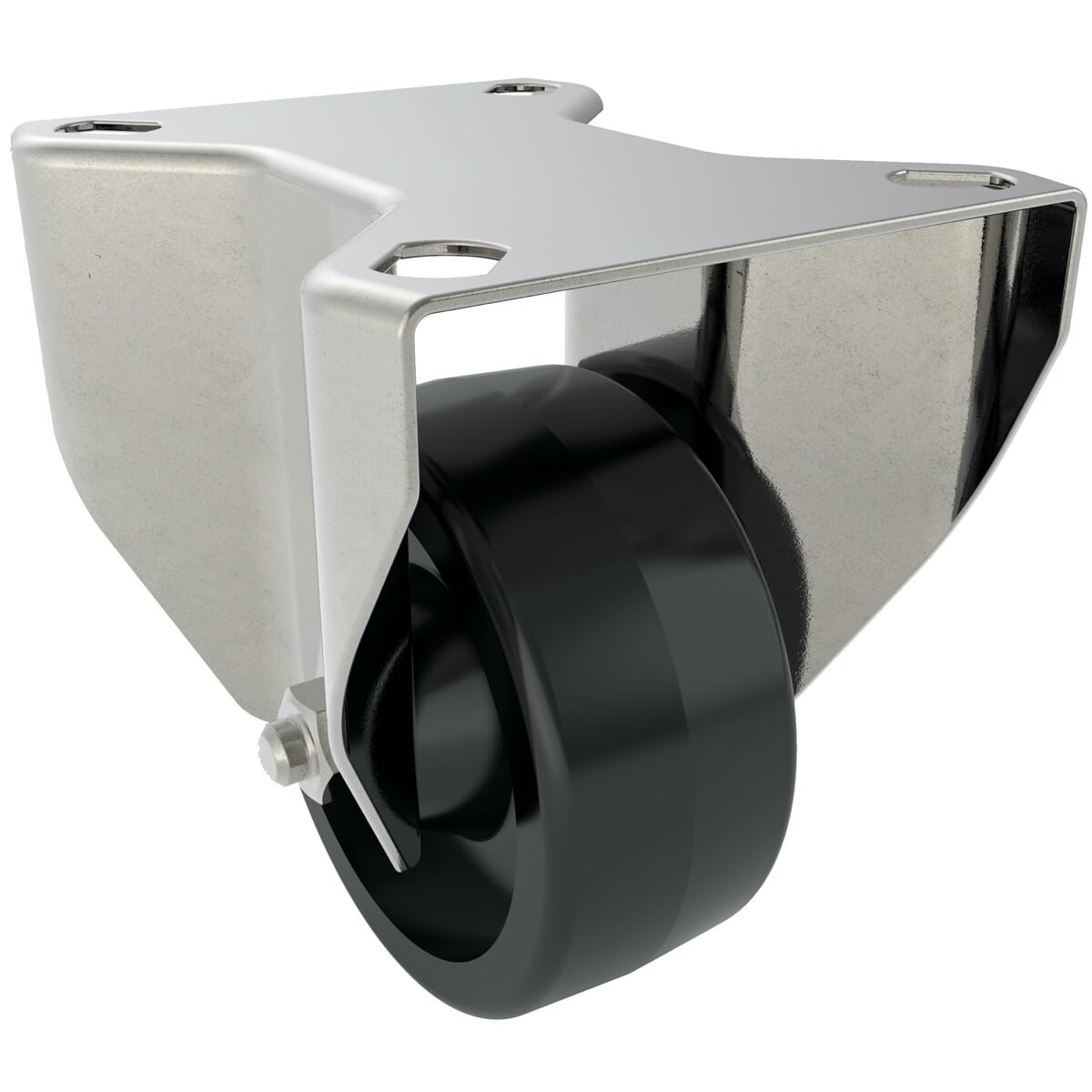 80mm x 35mm x 108mm x 9mm Industrial Castors With Fixed Plate - Stainless Steel Housing With Black Phenolic Wheel