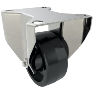 100mm x 35mm x 127mm x 9mm Industrial Castors With Fixed Plate - Stainless Steel Housing With Black Phenolic Wheel