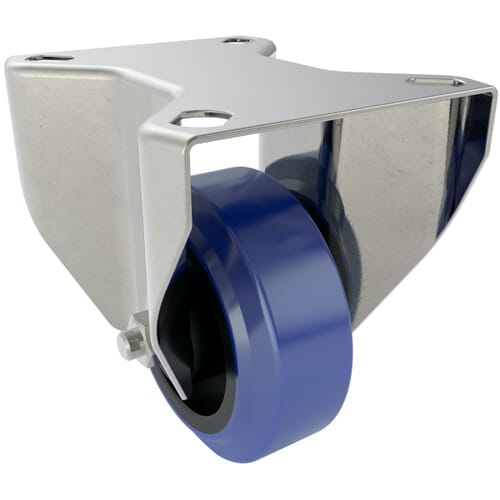 80mm x 40mm x 108mm x 9mm Industrial Castors With Fixed Plate - Zinc Plated Steel Housing With Blue Natural Rubber Tyre