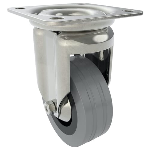80mm x 22mm x 109mm x 6.5mm Industrial Castors With Fixed Plate - Zinc Plated Steel Housing With Grey Natural Rubber Tyre