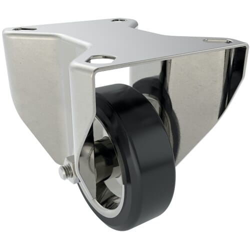 80mm x 25mm x 108mm x 9mm Industrial Castors With Fixed Plate - Zinc Plated Steel Housing With Black Natural Rubber Tyre