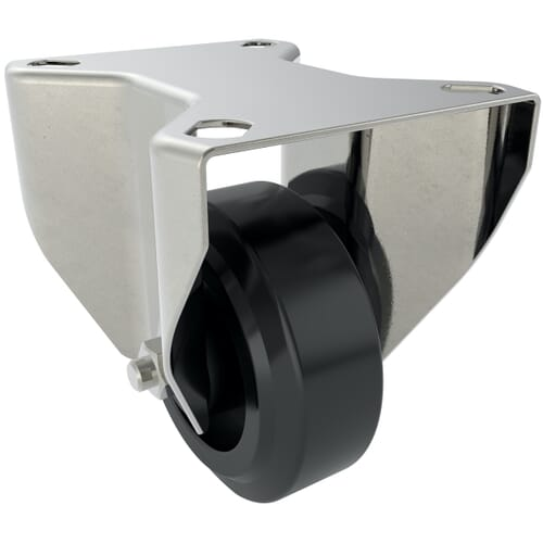 80mm x 25mm x 108mm x 9mm Industrial Castors With Fixed Plate - Zinc Plated Steel Housing With Dark Grey Synthetic Rubber Tyre