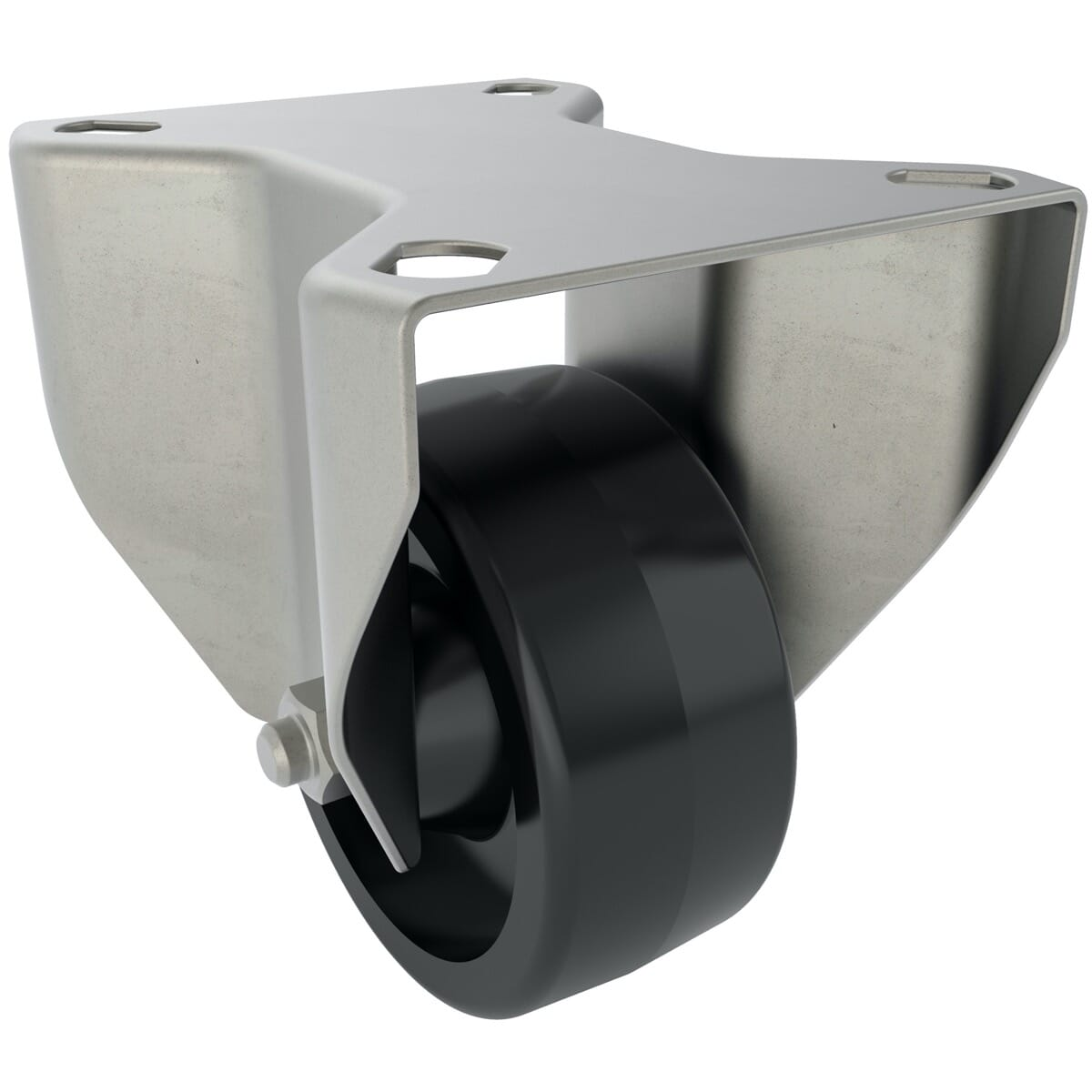 80mm x 45mm x 108mm x 9mm Industrial Castors With Fixed Plate - Stainless Steel Housing With Black Thermoplastic Wheel