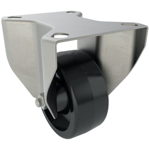 100mm x 50mm x 127mm x 9mm Industrial Castors With Fixed Plate - Stainless Steel Housing With Black Thermoplastic Wheel