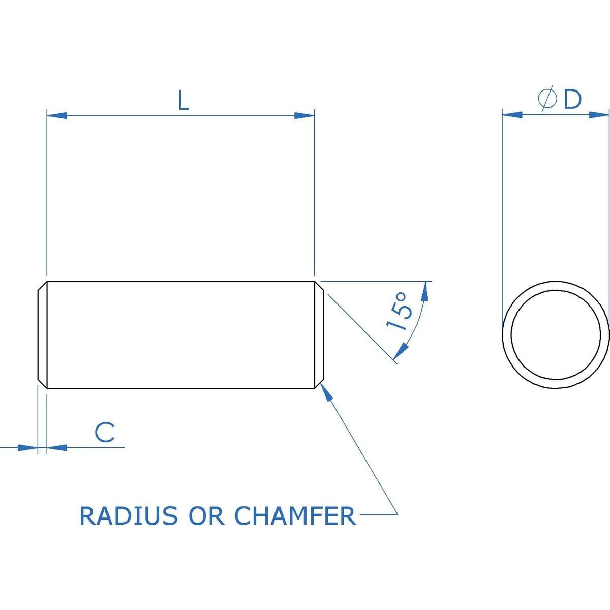 8mm (m6) x 30mm Dowel Pins (DIN 7) - A1 Stainless Steel Drawing