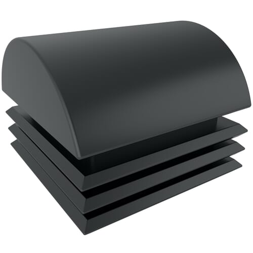 25.4mm Domed Square Inserts - Black Polyethylene