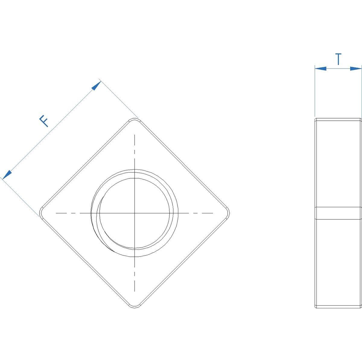 M6 Flat Square Nuts (DIN 562) - Marine Stainless Steel (A4) Drawing
