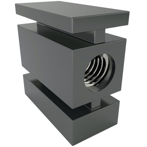 30 x 20mm x M8 x 2mm x 1 Horizontal Inserts For Rectangular Tubes - Black Nylon