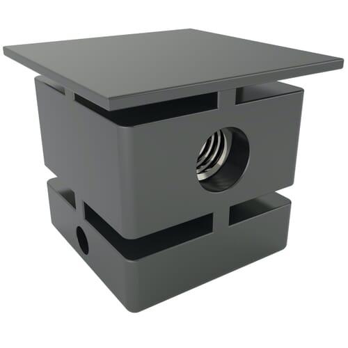 30 x 30mm x M10 x 1.25mm x 3 Horizontal Inserts For Square Tubes - Black Nylon