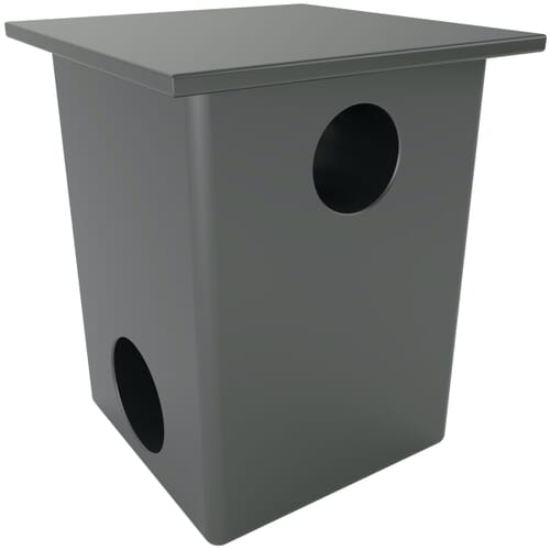 25 x 25mm x M10 x 1.5mm x 1 Horizontal Inserts For Square Tubes - Black Nylon