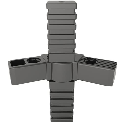 4 Arm x 20mm x 24 Hinged Tube Connectors - Black Nylon