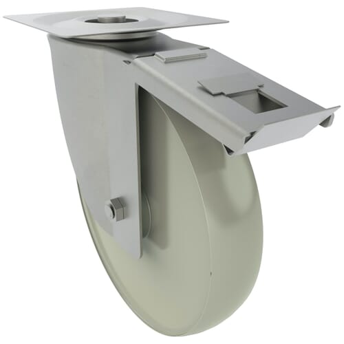 134mm x 80Kg Industrial Castor With Swivel Plate - Stainless Steel Housing With Polyamide Wheel - Braked