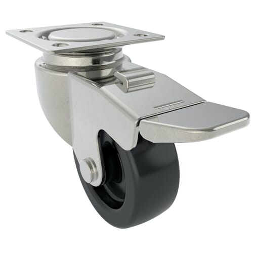 108mm x 100mm Industrial Castor With Swivel Plate - Stainless Steel Housing With Black Phenolic Wheel - Braked