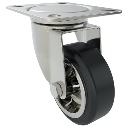 240mm x 220Kg Industrial Castor With Swivel Plate - Zinc Plated Steel Housing With Black Natural Rubber Tyre - Unbraked