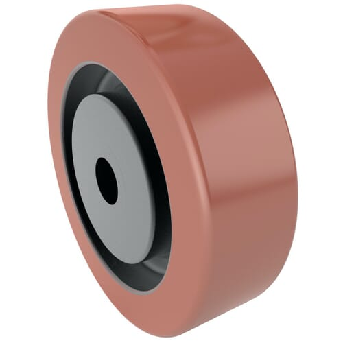 100mm x 30mm Industrial Castor Wheels - Red Polyurethane