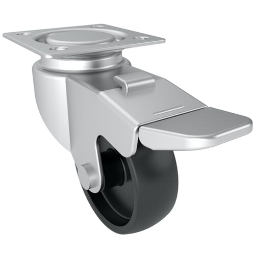 50mm x 17mm Industrial Castor With Swivel Plate - Zinc Plated Steel Housing With Black Polypropylene Wheel - Unbraked