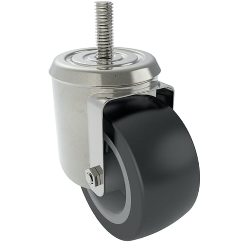 100mm x 33mm Industrial Castors With Threaded Stem, Type 5 - Zinc Plated Steel Housing With Dark Grey Synthetic Rubber Tyre