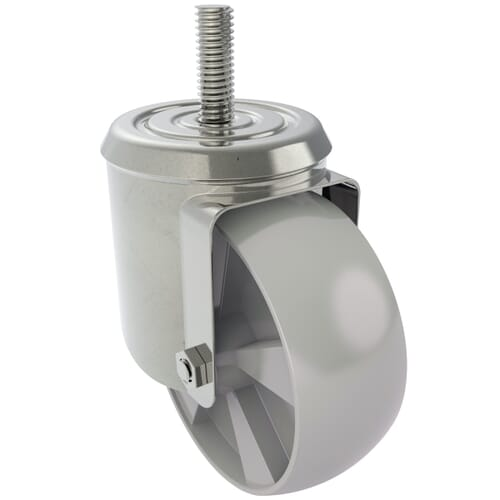 100mm x 33mm Industrial Castors With Threaded Stem, Type 5 - Zinc Plated Steel Housing With Polyamide Wheel