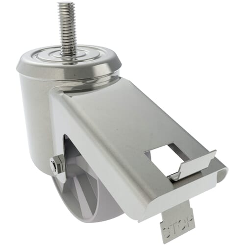 100mm x 33mm Industrial Castors With Threaded Stem, Type 6 - Zinc Plated Steel Housing With Polyamide Wheel
