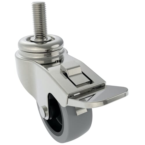 63mm x 28mm Industrial Castors With Threaded Stem, Type 6 - Zinc Plated Steel Housing With Grey Synthetic Rubber Tyre