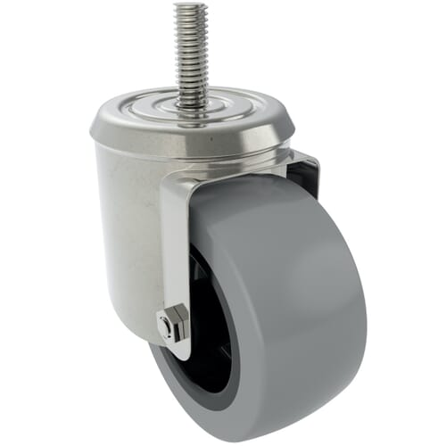 100mm x 28mm Industrial Castors With Threaded Stem, Type 5 - Zinc Plated Steel Housing With Grey Natural Rubber Tyre